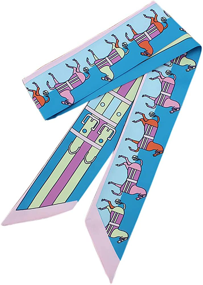 ANDLUV Narrow Long Scarf Classic Horse Print Bag Handle Wrap Neckerchief Hairband Wrist Ribbon Belt