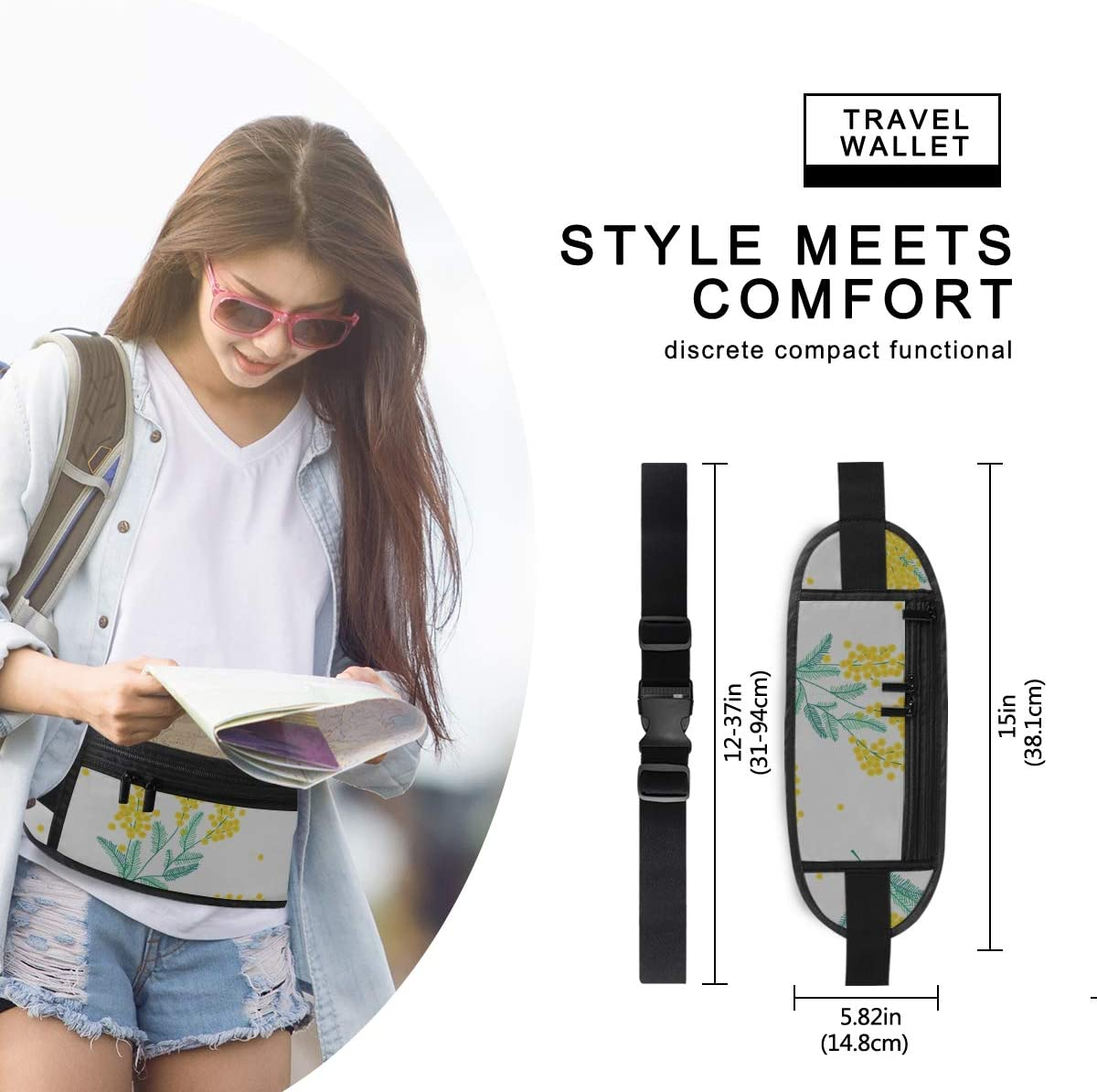 Botanical Pattern Yellow Mimosa Flowers Running Lumbar Pack For Travel Outdoor Sports Walking Travel Waist Pack,travel Pocket With Adjustable Belt