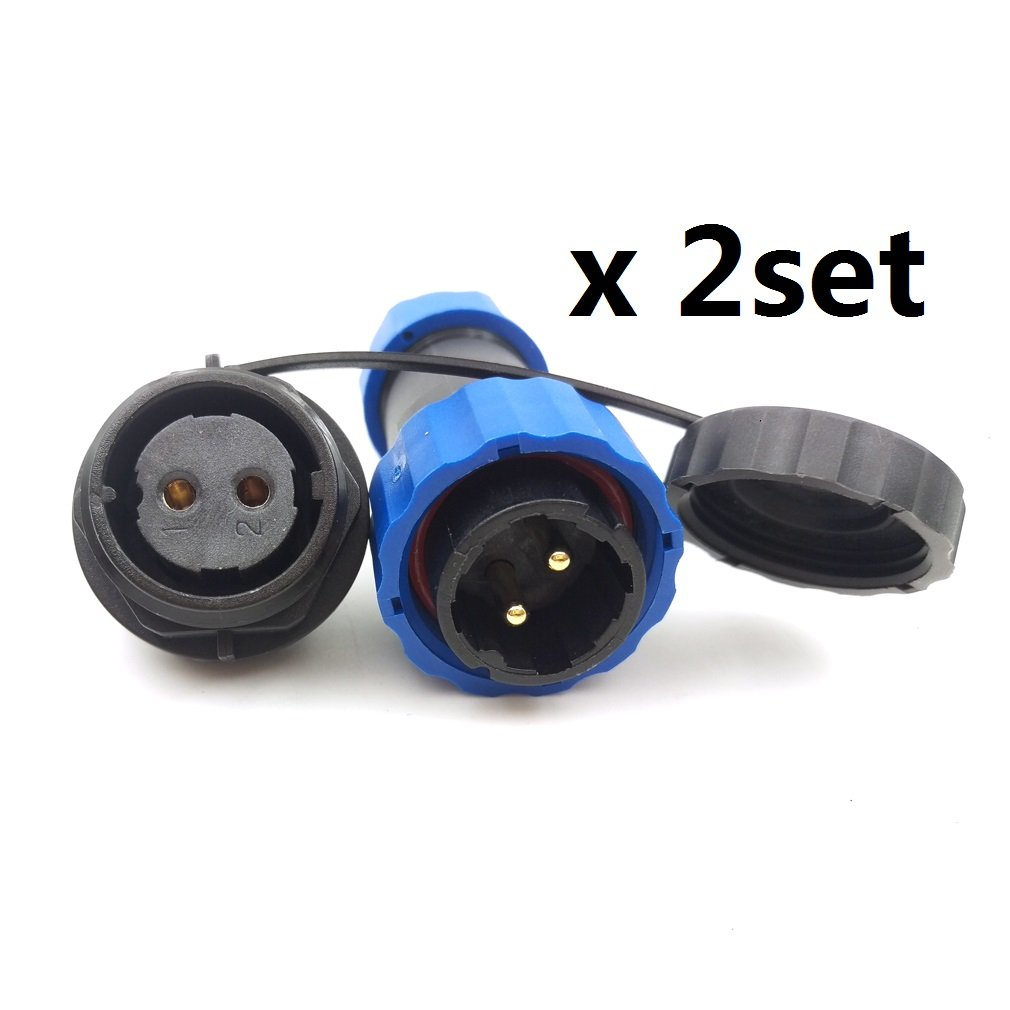 SD20 2pin Waterproof Connector, Circular IP68 LED Solar Panel Power Cable Plug Heavy Industrial Connector(2pin, Panel mount x 2set)