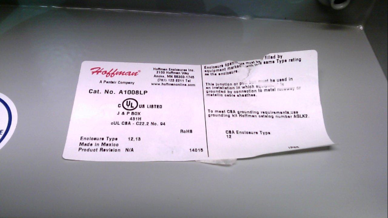Hoffman A1008LP Lift-off Clamp Cover Enclosure for sale online