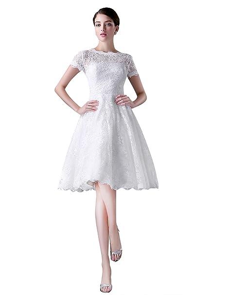 Adasbridal-vestido de novia Hasta la rodilla de encaje completa con mangas cortas