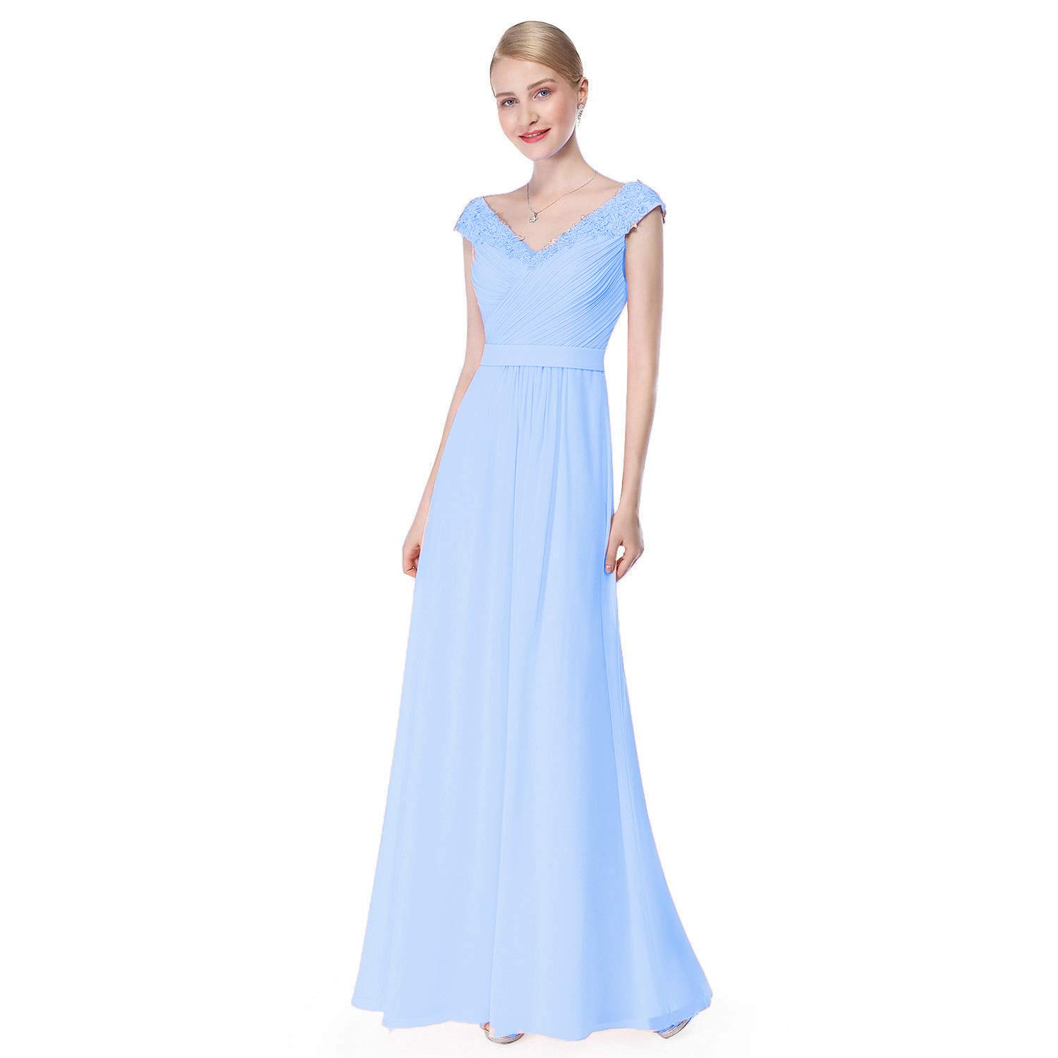 Sky bluee Ruiyuhong Women's Aline Sleeveless Bridesmaid Dresses VNeck Wedding Party Gown