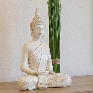 Amazon.de: Thai Buddha Weiß Statue groß 40 cm Sitzend Buddhafigur ...
