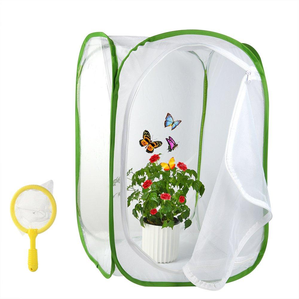FEPITO 2Pcs Terrario de Hábitat de Insectos y Mariposas con Niños Bug Catcher Net, 23.6 Pulgadas de Altura
