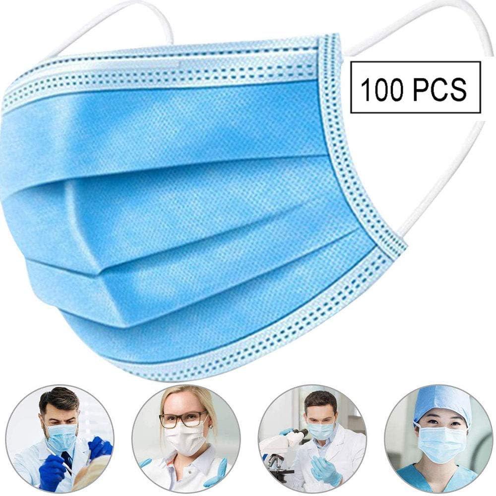 YML Filtro Azul de 3 Capas Careta Desechables no Tejidas a Prueba de Polvo filtros de Aire de la protección auditiva de Seguridad Anti Saliva Transpirable Ojos Nariz Boca de algodón Comfort 100PCS