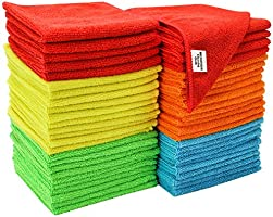 S&T INC. 968601 Microfiber Cleaning Cloths, Reusable and Lint-Free Towels for Home, Kitchen and Auto, 50 Pack, Assorted,...