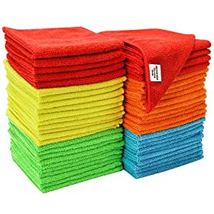"S & T Bulk Microfiber Kitchen, House, Car Cleaning Cloths - 50 Pack, 11.5"" x 11.5"""