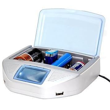 FISHTEC ® Cargador universal de pilas - Detección Automática De Pila: litio, Ni-MH, Ni-CD, ni-al, 9 V, alcalinas desechables + 2 puertos USB