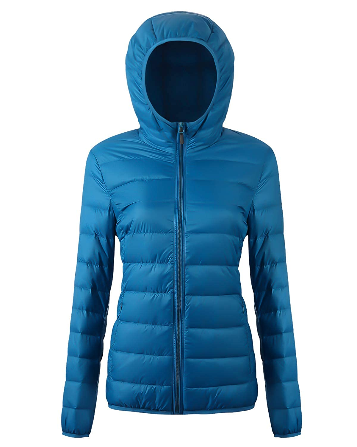 405929033d Amazon.com: Fantiny Women's Hooded Down Jacket Packable Ultra Lightweight  Outwear Puffer Coats with Travel Bag,UI18WYRF026,Acid.Blue,M: Clothing