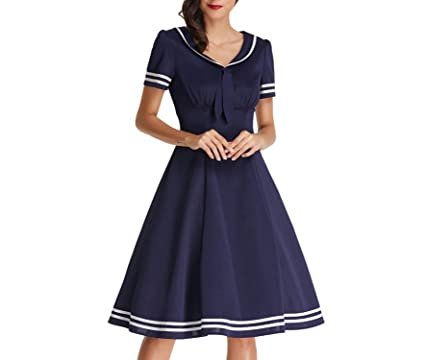 7ea4269ffa0 Yamed Sailor Dress Women Big Size Bow Summer Retro Dress Vintage 50S Party  Casual Preppy Dressesl at Amazon Women s Clothing store