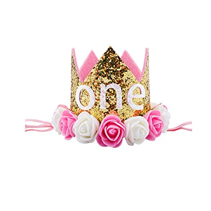 aa8cea19f49 Image Unavailable. Image not available for. Color  Finduat Baby Girl  First quot ONE quot  Birthday Crown Hat