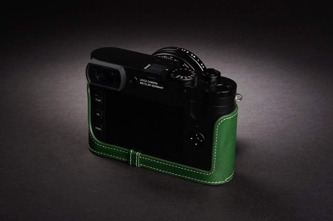 Handmade Genuine Real Leather Half Camera Case Bag Cover for Leica Q2 Green Color