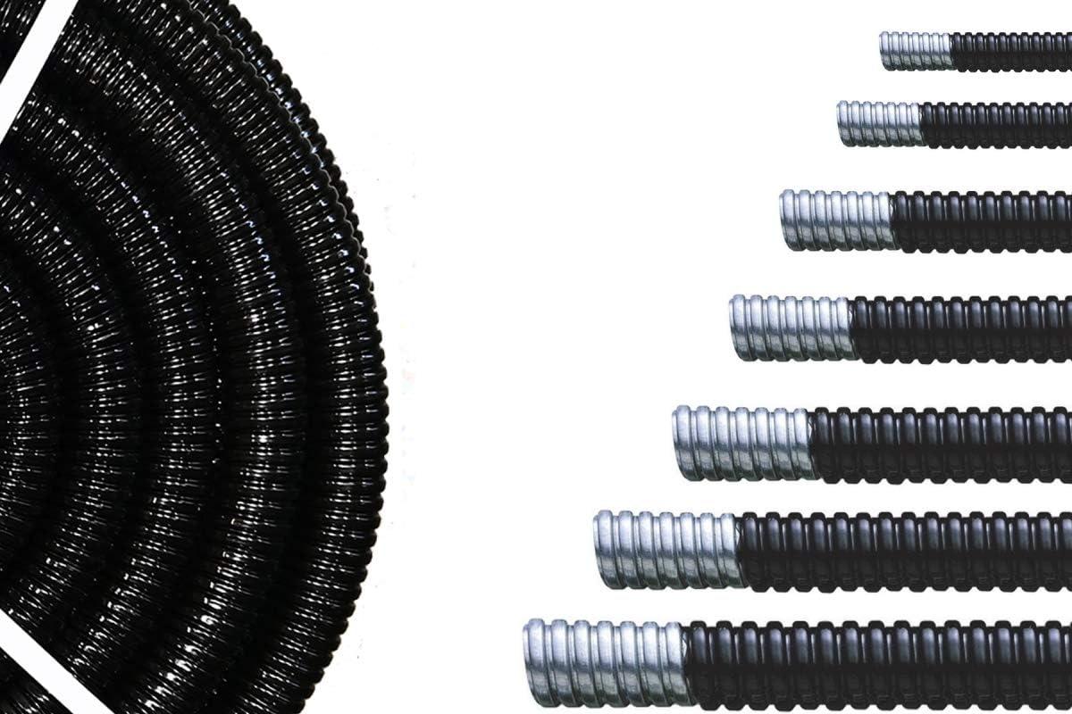 External 10.0mm Trade Size 10.0mm Internal 7.0mm UL 360 Flame Retardant 10mm Premium PVC Covered Steel Metal Flexible Conduit IP54 Oil//Sunlight Resistant 50 Meter Coil