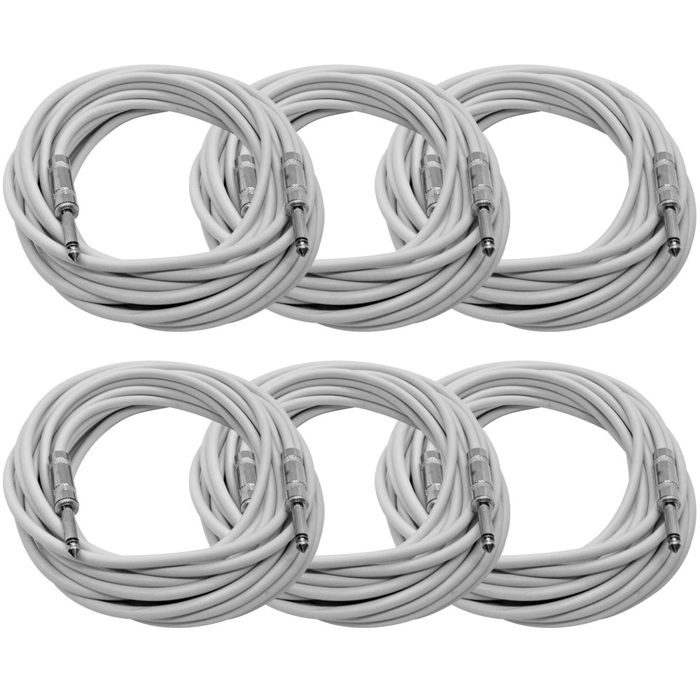Seismic Audio - SASTSX-25White-6PK - 6 Pack of 25 Foot White 1/4 Inch TS Patch Cables - 25' Professional Audio Unbalanced 1/4 Patch Cords Seismic Audio Speakers