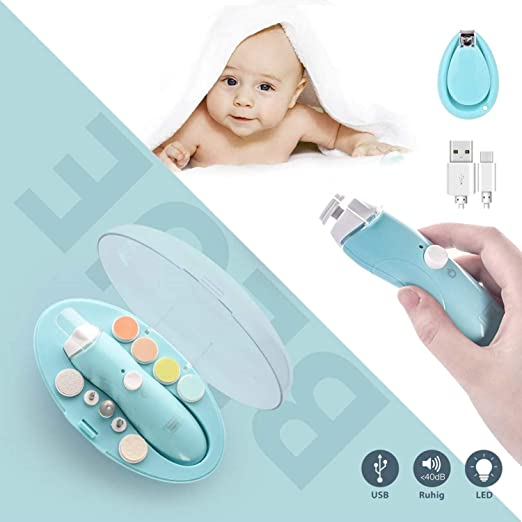Rechargeable Nail File, Deyace Quiet and Safe Electric Baby Nail File,9 in 1 Nail Drill, Continuously Variable USB Charging for Newborn Infant Toddler Kids Women Adult Toes Fingernails (Mint Blue)