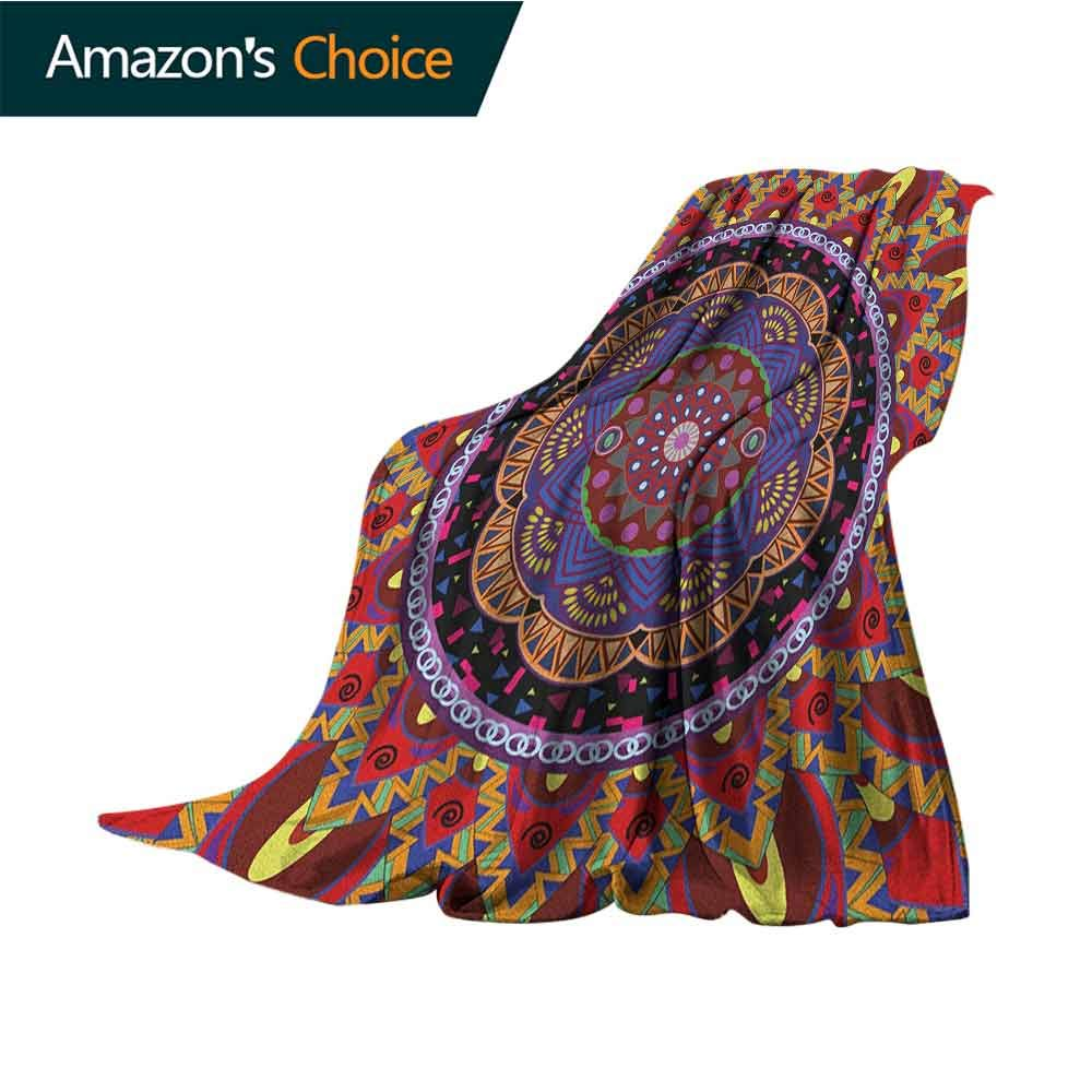 Mandala Blanket as Bedspread,Vintage Style Wedding Invitation Card with Mandala Motif Flower Illustration Colorful Home Couch Outdoor Travel Use Blanket,50'' Wx60 L Maroon and Red