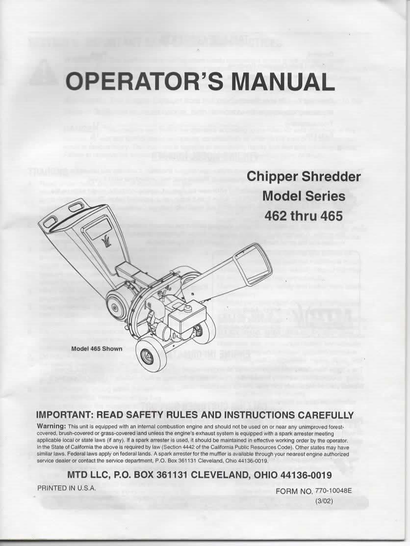Operator's Manual for MTD Chipper Shredder Model Series 462, 463, 464, 465,  465E with Tecumseh Engine: MTD LLC, Tecumseh Products Co: Amazon.com: Books