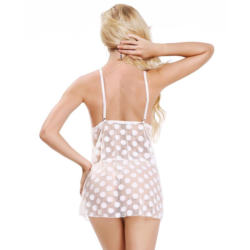 Lencería Erotica Sexy ❤ LuckyGirls Mujer Babydoll Lunares Encaje Perspectiva Ropa Interior Atractivo Siamese Camisón + Tangas Tallas Grandes(M~4XL): ...