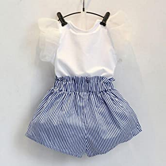 FAMILIZO Blusas de Niñas, Bebés Niñas Camiseta De Encaje De Encaje + Pantalones Rayados Set Traje De Ropa: Amazon.es: Ropa y accesorios