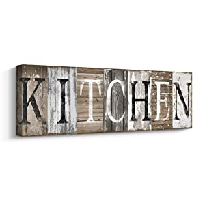 Pinetree Art Rustic Farmhouse Kitchen Wall Decor Canvas Prints Kitchen Signs Wall Decor (with Solid Wood Inner Frame) (Kitchen, 6 x 17 inch)