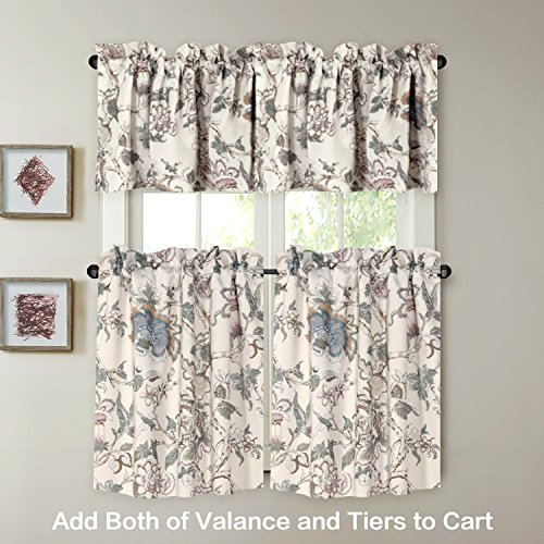 H.VERSAILTEX Window Valance Rustic Style Ultra Soft Material Suits Kitchen Bath Laundry Bedroom Living Room (Rod Pocket, 58 15 inch, Vintage Floral Pattern in Sage Brown, Set of 1) by H.VERSAILTEX (Image #2)'