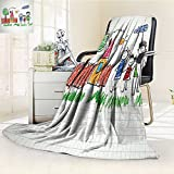 Microfiber Fleece Comfy All Season Super Soft Cozy Blanket happy family kids drawings notebook for Bed Couch and Gift Blankets(90''x 70'')