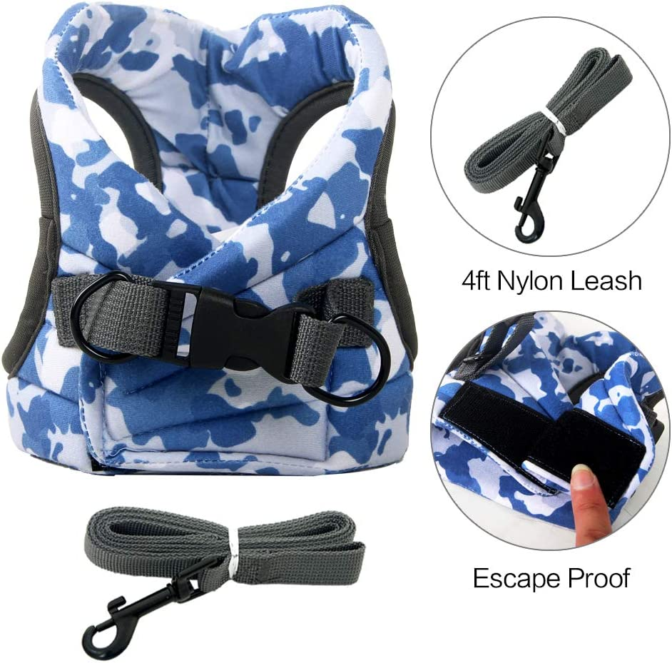Escape Proof Adjustable for Outdoor Walking Jacket with Safety Buckle,Camouflage Cat Harness and Leash Set S, Blue Camouflage