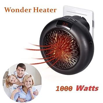 Calefactor Portátil Handy Heater 1000W Bajo Consumo Temperatura Regulable Baño Casa Oficina Enchufe UE (Negro): Amazon.es: Bricolaje y herramientas
