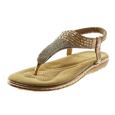 Angkorly - Chaussure Mode Sandale Tong salomés lanière cheville slip-on femme fleurs strass diamant Talon compensé 3 CM - Noir - Znwfzq8q5W