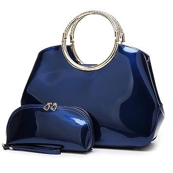 FavoMode Elegante Cueros de Patente Bolsos de mano Bolsos bandolera para mujer Bolso de embrague billetera 2 Piezas Azul: Amazon.es: Equipaje