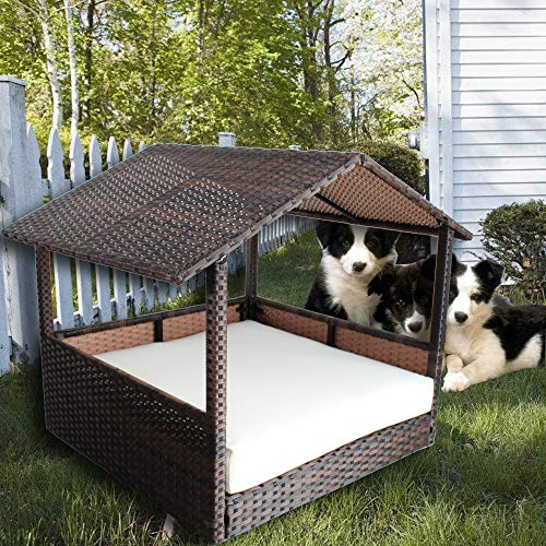 LEAPTIME Pet House Brown PE Rattan Home Indoor Patio Dogs Cats Rabits Garden Wicker Bed Sofa Cushion-Beige