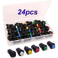 Gebildet 24pcs 12mm Momentary Drukknop SPST AAN-UIT AC 250V/1.5A 125V/3A, Kortstondige Mini Ronde Drukknop for…