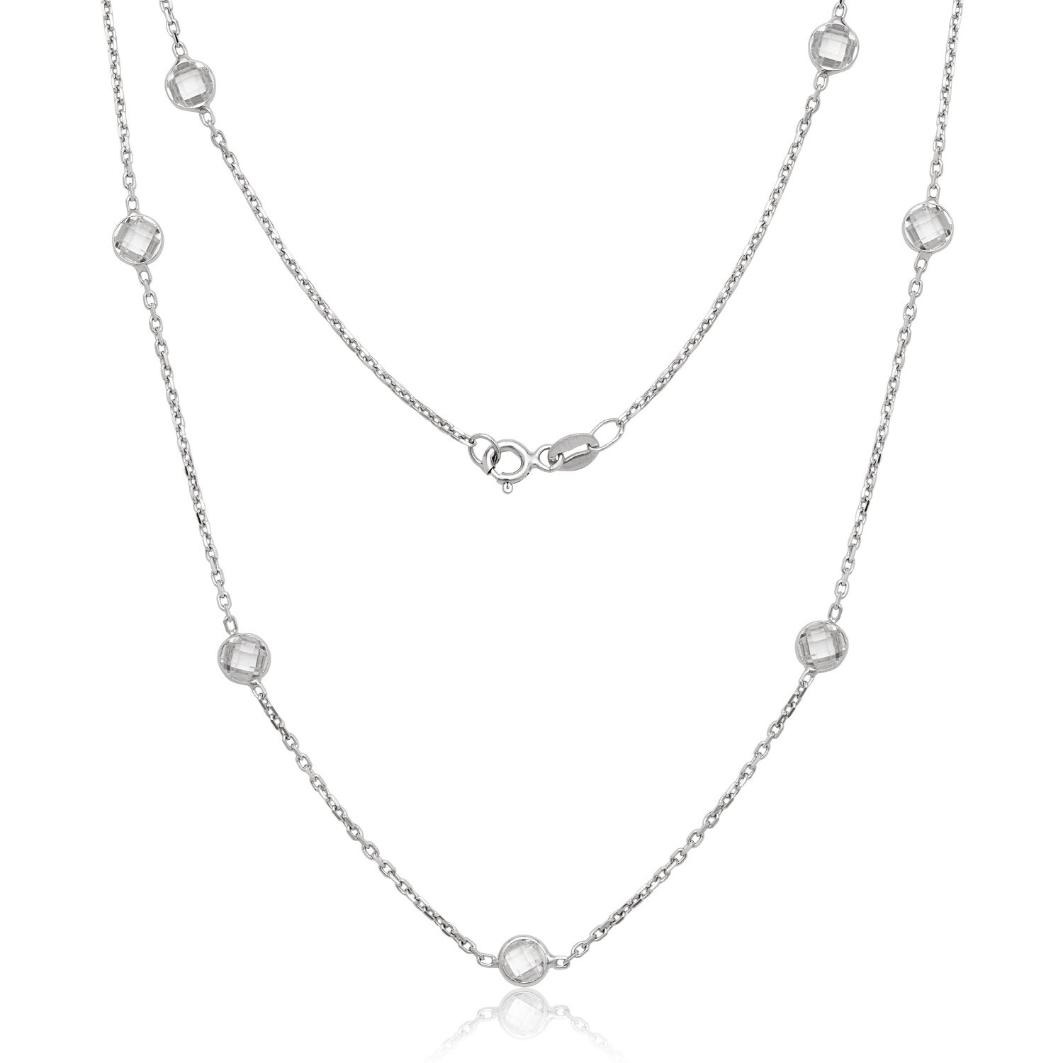 Sterling Silver 18'' Bezel-Set Faceted Circle CZ Station by the Yard Necklace