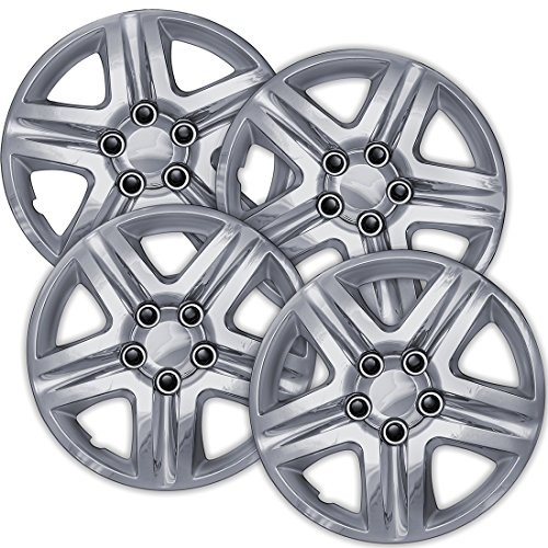 16 inch Hubcaps Best for 2006-2013 Chevrolet Impala - (Set of 4) Wheel Covers 16in Hub Caps Chrome Rim Cover - Car Accessories for 16 inch Wheels - Snap On Hubcap, Auto Tire Replacement Exterior Cap)
