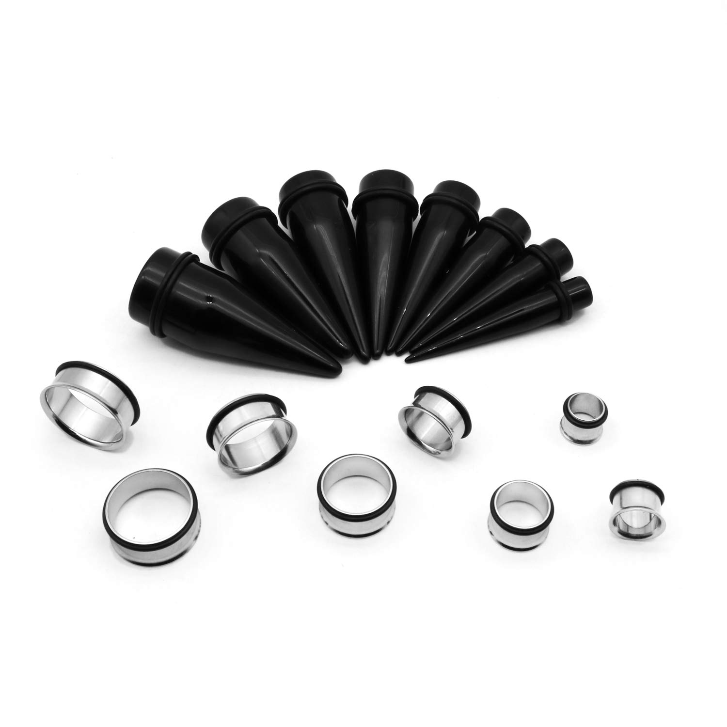 Auamour 32PCS Ear Gauge Stretching Kit 00G-24mm Acrylic Tapers and Stainless Steel Plugs Set Body Piercing Jewelry