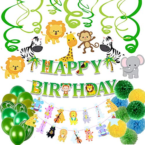 Jungle Theme Party Supplies Happy Birthday Party Decorations (Jungle/Safari Animals Theme)