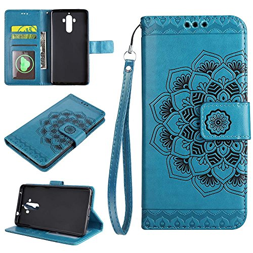 Pu Mandala Porte Est Cuir 9 Protection Huawei Rose Portefeuille cartes 9 De Mate Étui Retro Fleur Avec Bleu Or Pour En Estampée Housse eu vXAW6q8
