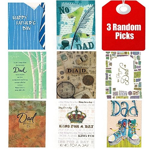 Value Pack Assorted Father's Day Series Greeting Cards Assortment [Set of 3 Different Design Father Day Greeting (Father's Day Cups)