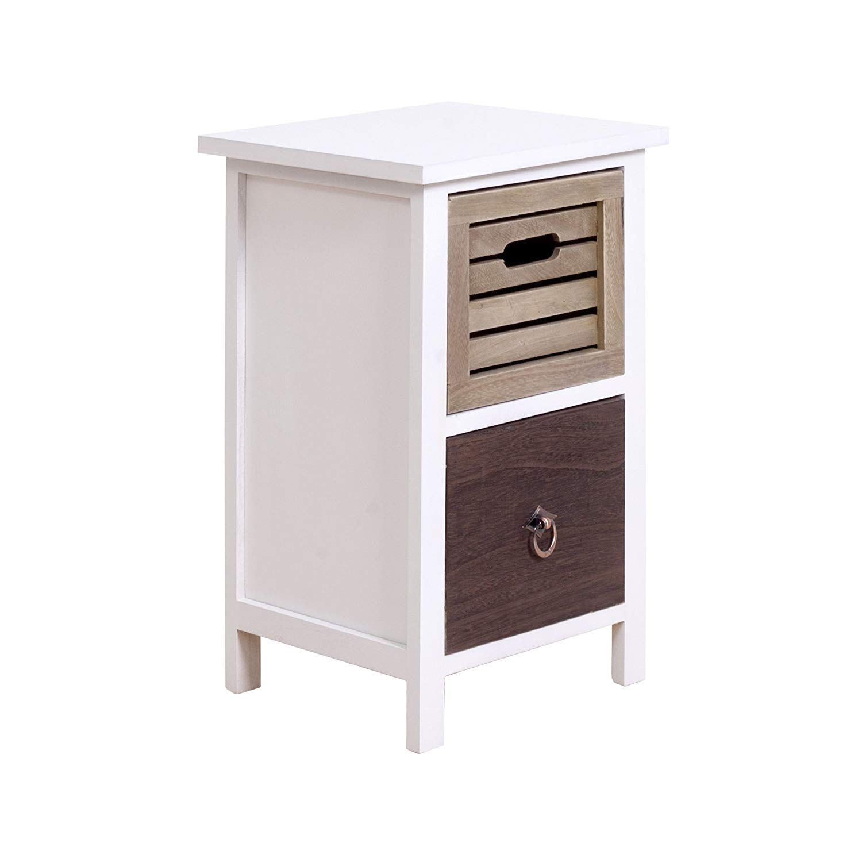 Rebecca Mobili Mesita de noche, tamaño pequeño, blanca, marrón, 2 cajones, Urban, madera blanca marrón, shabby vintage, para el dormitorio baño- ...