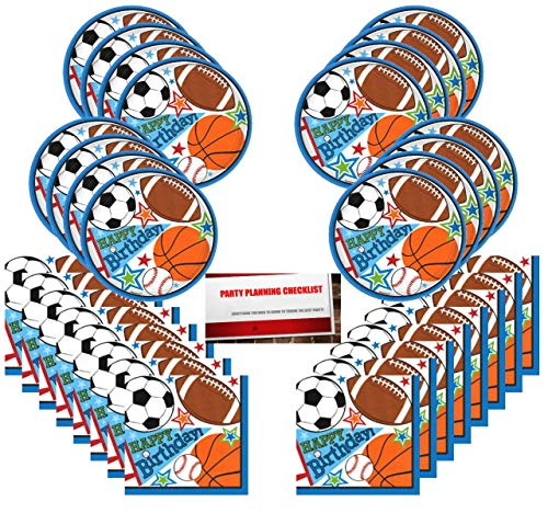 Sports Party Basketball Baseball Football Soccer Supplies Bundle Pack for 16 Guests (Plus Party Planning Checklist by Mikes Super Store)]()