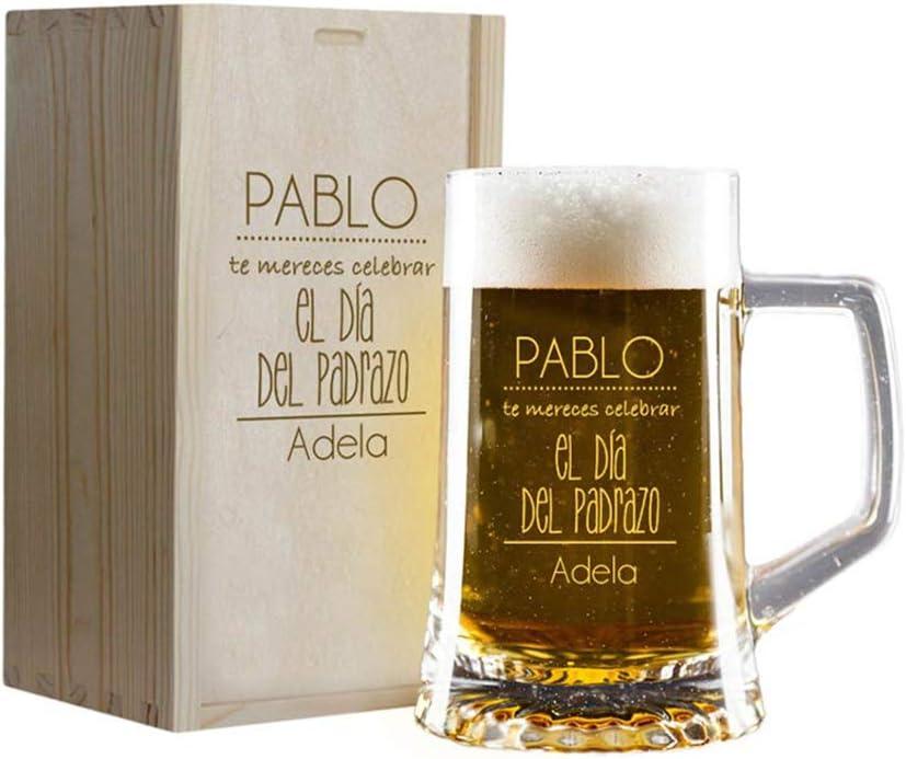 Calledelregalo Regalo Personalizado para el Día del Padre: Jarra de Cerveza grabada con vuestros Nombres en Estuche de Madera también Grabado