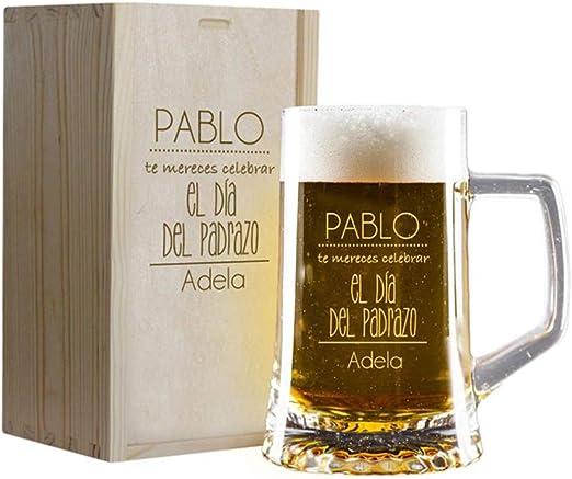 Calledelregalo Regalo Personalizado para el Día del Padre: Jarra de Cerveza grabada con vuestros Nombres en Estuche de Madera también Grabado: Amazon.es: Hogar