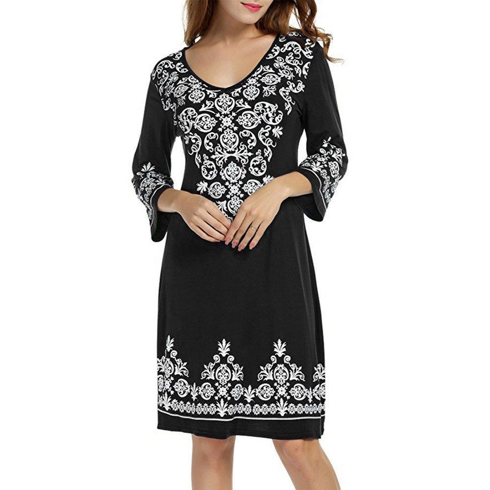 Libermall Women's Dresses Summer 3/4 Sleeve Printed Beach Sundress Evening Party T-Shirt Tunic Dress Black