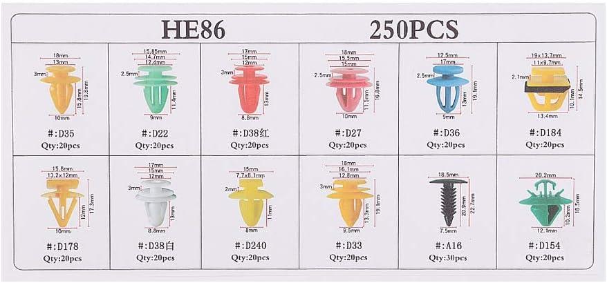 Duokon 250Pcs Car Door Card Panel Verkleidungsclips hochwertiges Kunststoff-Befestigungs-Retainer-Push-Niet-Kit