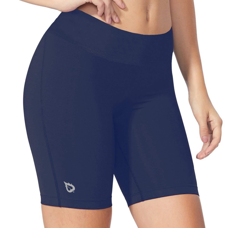 BALEAF Women's 7'' Active Fitness Yoga Running Shorts Pocket Navy Blue Size XXL by BALEAF