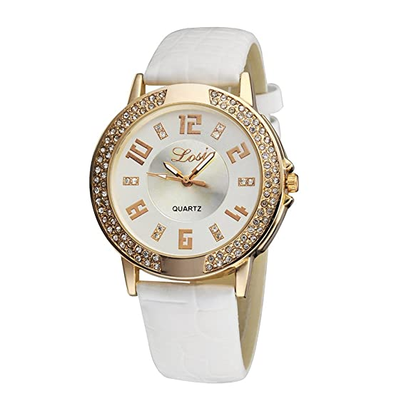 Qingsun Elégant Mujer Reloj - Reloj analógico mixte-quartz Faux Cristal Pedrería - Pulsera Piel Blanco: Amazon.es: Relojes