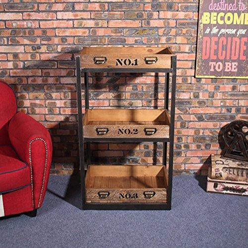 (American Flower Racks Landing Living Room Balcony Iron Wood Bookcase Flower Shelf Storage Shelf Layer)