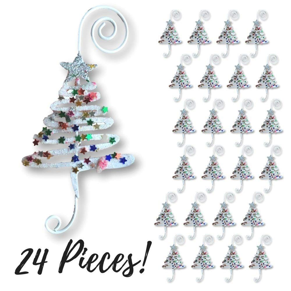 Christmas Ornament Hooks - Set of 24 Whimsical Christmas Tree Ornament Hangers - Adorned with Fun Confetti Like Glitter - Christmas Ornament Display Banberry Designs 3597