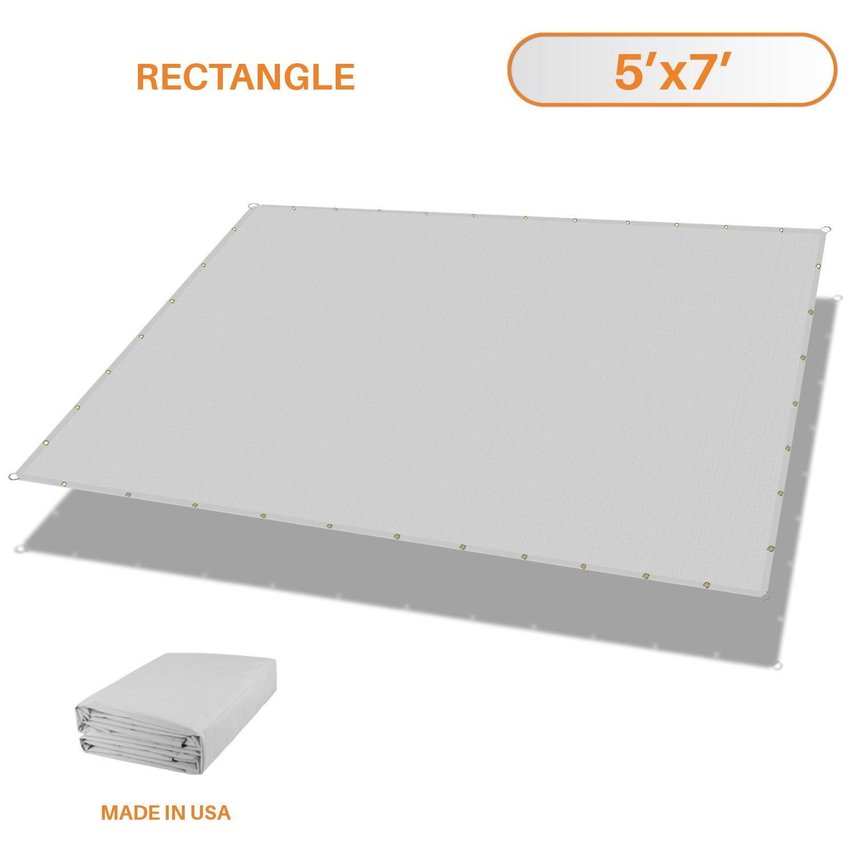 Sunshades Depot 5'x7' Waterproof Rectangle Sun Shade Sail 220 GSM Light Gray Straight Edge Canopy with Grommet UV Block Shade Fabric Pergola Awning Customize Available
