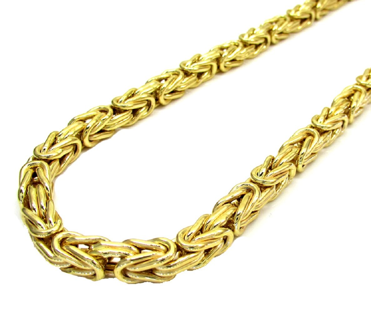 925 Sterling Silver with yellow gold plating 6mm Hollow Byzantine Box Link Chain Necklace or bracelet- Available in 7.5''-30''